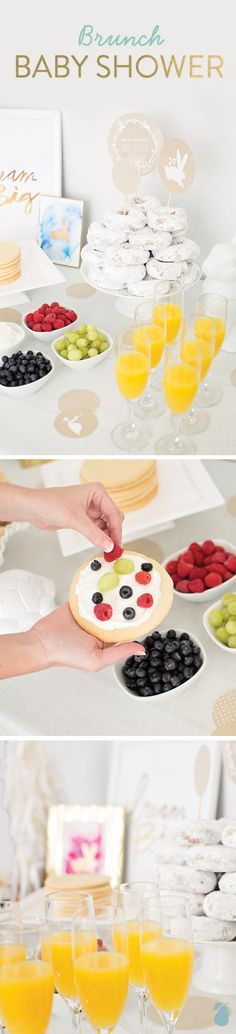 Click to get a peek at this brunch baby shower! Fruit pizza, donuts, mimosas and more. #babyshower
