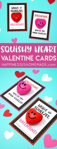 """Squishy Heart Valentine Cards are great sensory fun for kids of all ages! Squeeze the squishy heart """"stress ball"""" to relieve anxiety and calm fidgety hands! A fun Valentine's Day treat for friends and classmates! via @hiHomemadeBlog"""