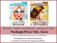 FACEcinating Girls Online Class Combination-Deal ... save by signing up to Volume 1 and Volume 2 of the Online Classes - including 3 exclusive FACE Stamp Sets for your fun Mixed Media Girls ... www.andrea-gomoll.de