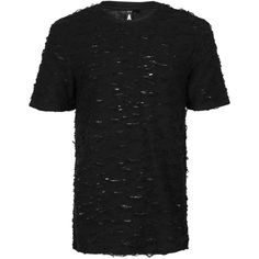 TOPMAN Aaa Black Laddered T-Shirt (€23) ❤ liked on Polyvore featuring men's fashion, men's clothing, men's shirts, men's t-shirts, black, men's classic fit dress shirts, mens cotton t shirts, mens crew neck shirts, mens cotton shirts and topman mens shirts