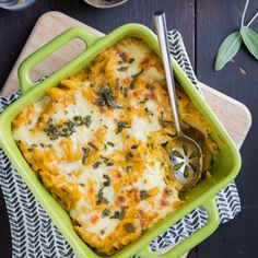 Creamy pumpkin baked ziti topped with a layer of cheese and crispy sage leaves - the perfect casserole to welcome fall!