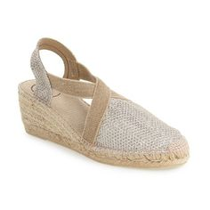 """Toni Pons 'Triton' Espadrille Wedge, 2 1/4"""" heel (2.565.110 VND) ❤ liked on Polyvore featuring shoes, sandals, gold fabric, metallic platform sandals, platform sandals, platform espadrilles, espadrille sandals and strappy sandals"""