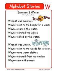 alphabet stories comprehension w