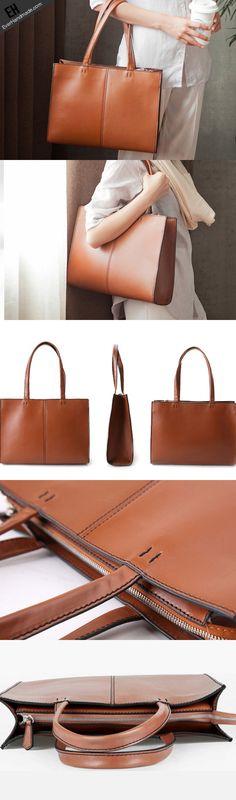 Handmade brown fashion pretty leather large tote bag shoulder bag hand | EverHandmade