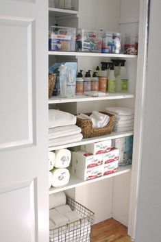 Closet Organization My Organized Overflow Closet + FREE Grove Products! - simply organized Tips for Bathroom Closet Organization, Home Organization Hacks, Bathroom Storage, Closet Storage, Bathroom Linen Closet, Small Bathroom, Bathrooms, Hallway Closet, Utility Closet