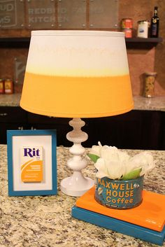 Love this idea! Dip a plain, white shade in Rit dye for a color-block effect. Gonna try this for Mikey's room redo!