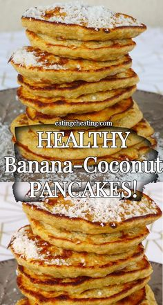 This coconut flour banana pancakes are fluffy, sweet, delicious and perfect for a healthy breakfast! Want something healthy for breakfast? This coconut flour banana pancakes are a great choice for you! Enjoy the recipe and bon appetit! Coconut Flour Waffles, Coconut Flour Recipes, Banana Pancakes No Flour, Healthy Banana Pancakes, Coconut Recipes Healthy, Crepe Vegan, Low Carb Recipes, Cooking Recipes, Desserts Sains