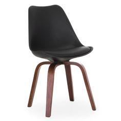 Sedia di design moderno.     Sedile foderato in fintapelle Polyurethan di alta qualità.     Disponibile di colore bianco o nero o grigio.          Gambe in lamine di legno plywood.          Perfetto per sale da pranzo o saloni.