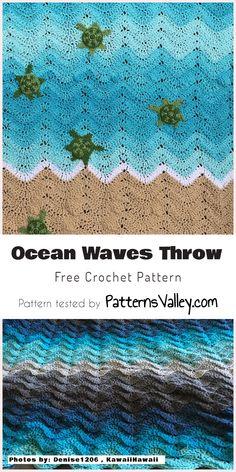 Ocean Waves Throw - Free Crochet Pattern #crochet #freepattern #oceanwaves #crochetafghan #throw #crochetlove