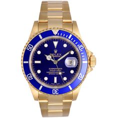 Pre-owned Rolex Yellow Gold Submariner Blue Dial Automatic Wristwatch... ($21,200) ❤ liked on Polyvore featuring jewelry, watches, wrist watches, blue dial watches, gold bracelet watches, blue watches, 18 karat gold jewelry and gold bracelet