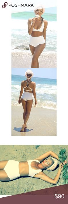 High waisted Neoprene Bikini Gorgeous sporty yet feminine style Bikini. Has a vintage feel to it. Fits exactly as pictured. Only worn one time in Mexico and fits like a dream. From the brand Nueraswim triangl swimwear Swim Bikinis