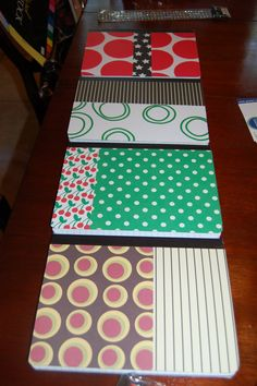 Scrapbook paper & sticky spray on composition notebooks! Maybe for the Writing Club this year?