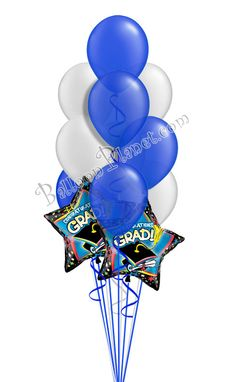 Blue & Silver Grad Balloon Bouquet (12 Balloons) Burgundy And Gold, Purple Gold, Green And Gold, Blue And Silver, Graduation Balloons, Graduation Day, Birthday Balloons, Grad Parties, Birthday Parties