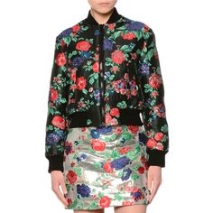 MSGM Cropped Floral Brocade Bomber Jacket ($880) ❤ liked on Polyvore featuring outerwear, jackets, red, flight jacket, blouson jacket, cropped bomber jacket, floral print bomber jacket and red bomber jacket