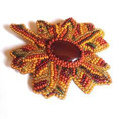 Brooch beaded handmade Bead embroidered brooch Beaded brooch