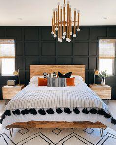 Dream Bedroom, Home Decor Bedroom, Black Master Bedroom, Modern Boho Master Bedroom, Dark Cozy Bedroom, Black Bedroom Furniture, Dark Bedrooms, Contemporary Bedroom, Black Bedroom Walls