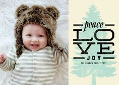 Pine Poster - Folded #Holiday Photo Cards by Stacey Day for Tiny Prints in a neutral Almond