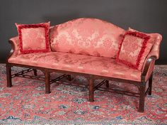 Chinese Chippendale Style Mahogany Camel Back Roll Over Arm Sofa With Blind Fret Carved Legs