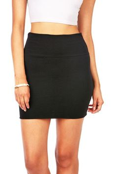 Cotton Stretch Mini   $ 12.99      High waist mini skirt is a basic must have. Looks great with any crop top.