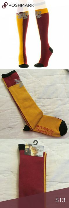 Harry Potter Gryffindor Knee High socks Women's sock size 9-11 and shoe size 6-10. Made of acrylic polyester and spandex. Officially licensed socks. Brand new. Bioworld Accessories Hosiery & Socks