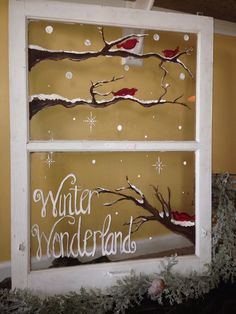 I LOVE this one. Its so simple yet so pretty and wintery. Branches with fallen snow and cardinals make this a beautiful winter scene along
