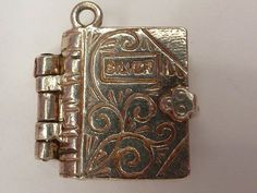 VINTAGE STERLING SILVER ORNATE BOOK CHARM OPENS