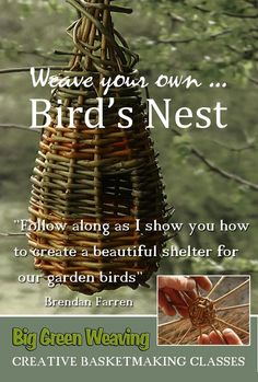 Big Green Weaving's On Demand Pages on Vimeo Bird Nest Craft, Bird Crafts, Nature Crafts, Garden Crafts, Fun Crafts, Garden Art, Weaving Textiles, Weaving Art, Willow Weaving