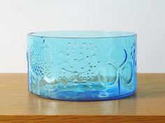 Vintage 1960s Finnish Nuutajärvi FLORA Glass Bowl by Oiva Toikka