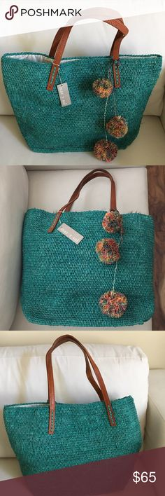 "🌴NWT Mar Y Sol ""Portland"" Packable Raffia Tote 🌴Brand New with Tags Mar Y Sol ""Portland"" Packable Aqua Raffia Tote with colorful pom poms. Handmade in Madagascar - made with woven raffia with leather handles. Magnetic snap closure. Over the shoulder handles. Interior wall pocket. Packable. Measures 13""W (base), 20""W (widest point) x 15""H x 6""D. Interior Capacity - extra large. 9"" strap drop. Gorgeous straw tote for summer!! mar y sol Bags Totes"