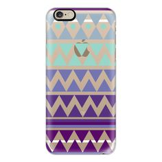 iPhone 6 Plus/6/5/5s/5c Case - PURPLE TRIBAL CHEVRON - Crystal Clear... ($40) ❤ liked on Polyvore featuring accessories, tech accessories, phone cases, phones, electronics, iphone, phone covers, iphone case, iphone cases and tribal print iphone case