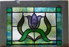 Victorian Tulip Flower Leaded Stained Glass Window | eBay