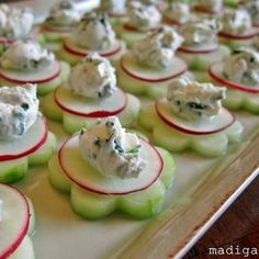 Cucumber & Chicken Salad Appitizer...making these without chicken salad....maybe a spicy dips/cream cheese topping