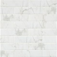Recreate look and texture of your favorite room decor by using this MS International Marmi Blanco White Glazed Ceramic Wall Tile. Glazed Ceramic Tile, Ceramic Subway Tile, White Subway Tile Shower, Bathroom Flooring, Bathroom Wall, Bathroom Ideas, Bathroom Updates, Master Bathroom, Bathroom Showers