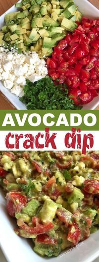 This quick and easy party appetizer is the best make ahead dip you will ever make! serve it up with chips for a simple finger food everyone will love it s made with avocados tomatoes feta and parsley listotic com 75 healthy game day snacks Avocado Recipes, Healthy Recipes, Dip Recipes, Recipes With Avocado, Healthy Quick Meals, Pasta Recipes, Salad Recipes, Avocado Ideas, Cake Recipes
