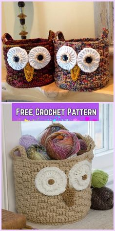 Crochet Owl Basket Free Patterns-Crochet It's a Hoot Owl Container Free Pattern with Video