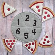 Pizza Number Matching Game, Embroidered Acrylic Felt, 6 pizza slices and felt pan, Educational Preschool Game, Made in USA - Eğitici oyuncak yapımı - Baby Crafts, Felt Crafts, Preschool Activities, Educational Games For Preschoolers, Toddler Learning Activities, Quiet Book Templates, Quiet Book Patterns, Diy For Kids, Crafts For Kids