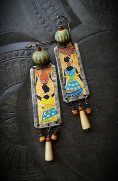 Tin Earrings, African Women, Artisan Made, Rustic, Organic, Primitive, Vintage, Bone, Shell, Upcycled, Recycled, Beaded Earrings by YuccaBloom on Etsy