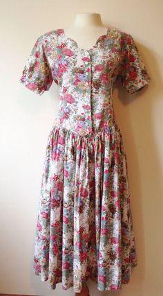 Vintage Floral Tea Dress St Michael M&S Day Cotton 80s Does 50s Cotton Size 12 £15.00 (1B)