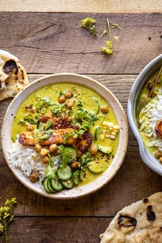 Summer Coconut Chickpea Curry with Rice and Fried Halloumi (via Half-Baked Harvest) Vegetarian Curry, Vegan Curry, Vegetarian Recipes, Cooking Recipes, Healthy Recipes, Healthy Food, Chickpea Coconut Curry, Coconut Vegetable Curry, Zucchini Curry