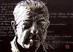 woodcut Portrait of Jacques Prevért by German born printmaker Dirk Hagner