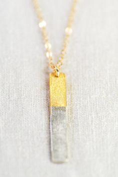 Kaihalulu gold bar necklace by kealohajewelry