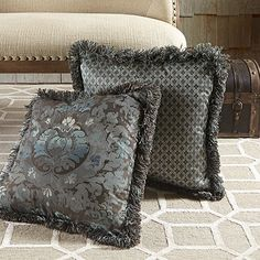 Frost Blue Damask Pillow With Tile Back | Arhaus Furniture