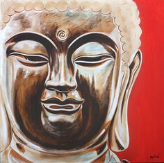 "love and harmony buddha 36x36"" oil on canvas by dragoslav milic"