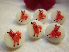 """lot 6 boutons anciens en verre rouge blanc """"chien"""" diamètre: 1,3 cm vintage"""
