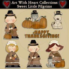 Sweet Little Pilgrims Clip Art Download