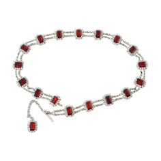 DOLCE&GABBANA belt ruby and Swarovski jewels adjustable size | From a collection of rare vintage belts at https://www.1stdibs.com/fashion/accessories/belts/