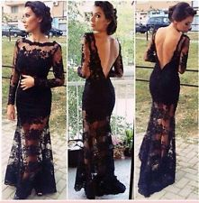 Vestito lungo nero transparente s
