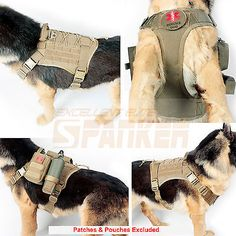 Harnesses Tactical Military K9 Molle Service Dog Harness Police German Shepherd Vest Camo Khaki Black Dog Tactical Equipment Clothes And Digestion Helping
