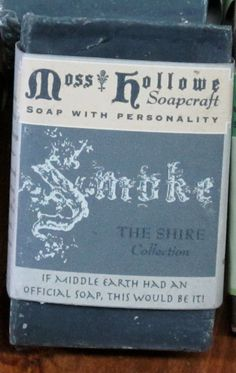 LOTR soap -- Smoke -- If Middle Earth had an official soap, this would be It! Charcoal soap! Any self respecting Hobbit in the Shire would use it. Also in Pumpkin, Vine, Bog, Fern, Holly and Twig!! Soap made with magic and elfin know -- who knew?