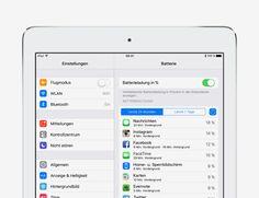 Batterie- und Speicherverwendung prüfen - Tipps und Tricks zu iOS9 für iPad – Apple Support